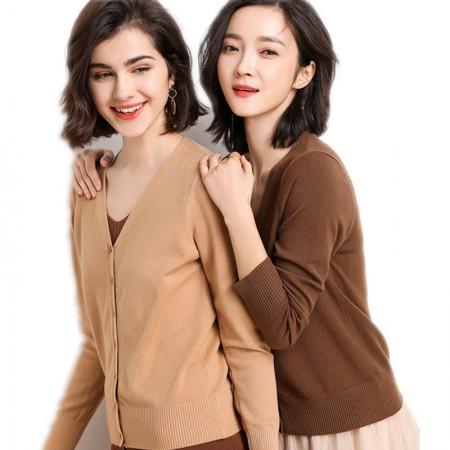 2019春款时尚百搭休闲针织开衫两件组·焦糖+驼色