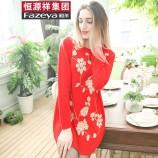 (恒源祥集团)彩羊手工盘花羊毛裙·大红